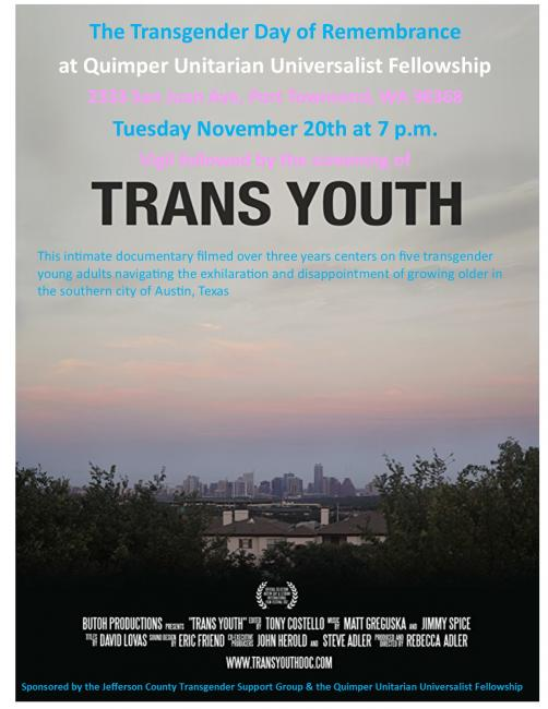 "Poster of pink and blue skies about trees. Words ""Transgender Day of Remembrance with film Trans Youth."" November 20, 2018 7pm. Vigil followed by film viewing."