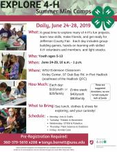 Youth ages 5-13: join us daily for some of the best that 4-H has to offer! Art, theater, robotics, gardening, animals, and much more!